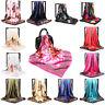 Women Printed Satin Silk Square Scarf Wrap Shawl Beach Scarves Stole 90*90cm