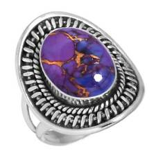 Copper Purple Turquoise 925 Sterling Silver Handmade Ring Size 11 mW30655