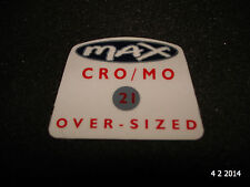 "1 AUTHENTIC NOS RALEIGH ""MAX CRO/MO OVER-SIZED"" BIKE FRAME STICKER #12 DECAL"