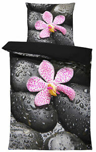 4 teilig Bettwäsche 135x200 cm Steine Orchidee Relax schwarz Wende Mikrofaser