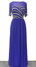 NEW Blue Maxi Dress Gatsby Dress Embellished Bridesmaid Party Gown SIZE 18