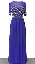 NUOVO Blu maxi dress Gatsby Abito Impreziosito Damigella D'onore Festa Abito Taglia 18