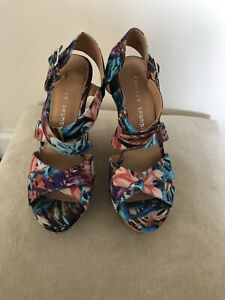 Chinese laundry floral wedge Platform Strappy Sandals 7.5