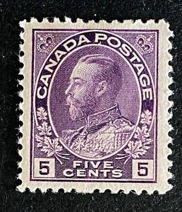Canadian Stamp, Scott #112 5c King George V 1922 VF M/H. Violet color.