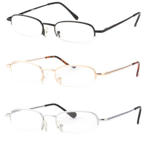 Retro Rectangle Reading Glasses Metal Frame Metal Hinges High Power  1.00 Up