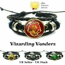 Harry Potter Leather Woven Bracelet Gryffindor Slytherin Ravenclaw Hufflepuff