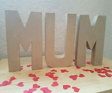Paper Mache giant Cardboard Letters MUM Signs 3D Craft 20.5cm
