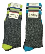 Funky Socks 4 Pairs Shoe Size 10.5 - 4 Grey Marled Striped Grey Green Lime NEW