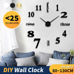 3D Wall Clock Acrylic Modern DIY Mirror Surface Sticker Home Office Decor Clocks