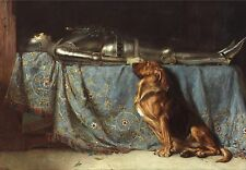 Briton Rivière, Rest in peace, Blood Hound Dog by his master, 16x11 1888 ART