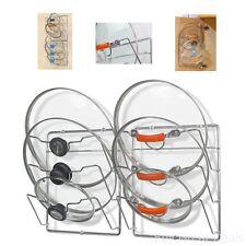 Lid Organizer Rack Chrome Wall Mount Pot 2 Pack Set Hanging Storage Kitchen New