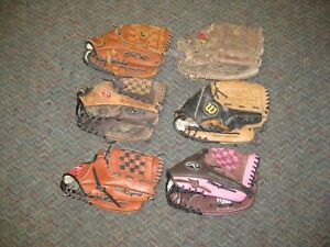 "Lot of (6) Adult Baseball/Softball Gloves 12"" to 13""  Tony Gwynn Autograph"