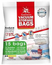 Vacuum Storage Bags - Pack of 15 (3 Jumbo + 4 Large + 4 Medium + 4 Small)