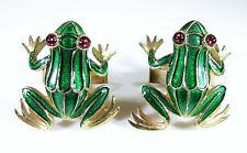 Gold Tone Cufflinks with Green Enameled Frogs and Red Rhinestone Eyes by Trifari
