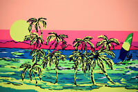 "Sunset Surfer Fluorescent Poly Pongee Apparel Fabric Ultra Soft DWR 59""W"
