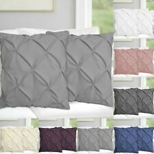 """Luxury Pintuck White Grey Cushion Covers 18 x 18"""" Pillow cases Home Sofa Decor"""