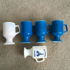 """5 Vintage BLUE WHITE disney Milk Glass Footed Mugs Pebbled Finish 5 1/2"""" Tall"""