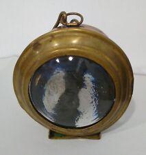 Antica piccola LANTERNA vintage da CARRO/ CARROZZA, vetro bombato e ottone
