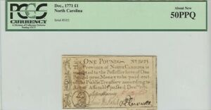 North Carolina Colonial Note Dec, 1771 1 Pound PCGS 50 About New PPQ