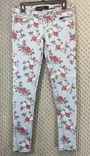 Almost Famous Juniors 9 Floral Jeans Light Blue Red White Flowers Skinny Leg