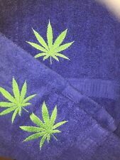 Embroidered Royal Blue Bath Sheet, Hand Towel & Wash Cloth Set- Marijuana Leaf