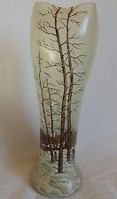 Straordinario vaso antico pasta di vetro decoro inverno (smaltato) Legras? Daum?