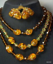 Vintage Alice Caviness Necklace & Earrings Art Glass Faux Amber Jewelry Set