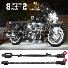 8 Pod 2 Strip Custom Motorcycle 12V LED Neon Accent Light Kit Universal - WHITE
