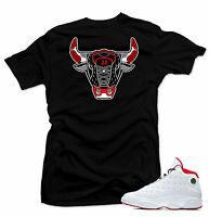 Shirt to match Air Jordan History of Flight Retro 13. Bull 13 Black   Tee