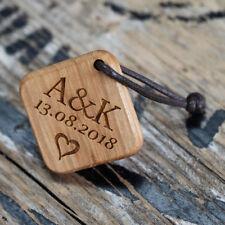 Holz Schlüsselanhänger mit Gravur Anhänger Partneranhänger Wunschtext