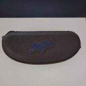 Maui Jim Eye Glasses Case Hard Zip Up Brown Sunglasses Travel Clip on