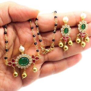 Indian Bollywood AD Stones Mangalsutra Black Bead Chain Women Necklace Earrings