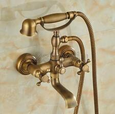 Antique Brass Wall Mounted Tub Faucet Bath Mixer Tap with Hand Shower Utf024