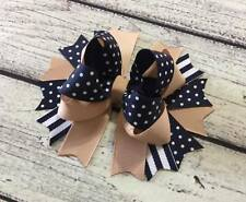 Back To School /School Uniform Khaki And Navy Stacked Boutique Hair Bows