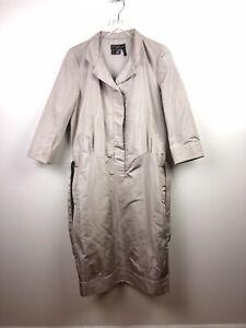 Salvatore Ferragamo Beige Rayon Coat Dress Womens Size 48 US 12 Lightweight