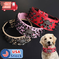 SKULL Metal Studded Spiked Rivet Dog PU Leather Collar XS/S/M/L