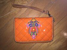 Orange Rubber Wallet with Flower Stitching