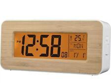 ACCTIM 71851 Otto Radio Controlled LCD Alarm Clock Bamboo New
