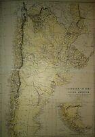 Vintage 1875 ARGENTINE REPUBLIC PATAGONIA URUGUAY CHILI MAP Antique Original