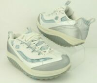 Skechers Shape Ups 11803 White Silver Blue Toning Fitness Walking Shoes Womens 8