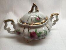 Vintage Trimont Ware Sugar Bowl White W/ Floral Pattern Gold Trim Rose Japan C7