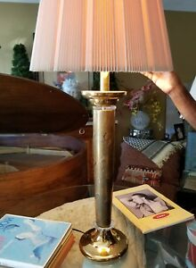 LARGE Vintage, Tomasso Barbi style, Italian Lucite and Gilt Porcelain Table Lamp