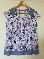 Mantaray Cotton Purple Pink Floral Relaxed Style Top Size 10