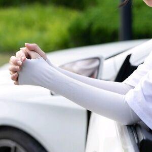 Women Girl's Warm Arm Sleeve Sun Protection Long Fingerless Cycling Gloves Gift