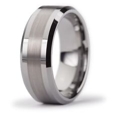 New Tungsten Carbide Brushed 2 Tone Mens Wedding Band Ring 8mm