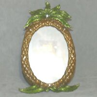 Picture Frame Photo Photograph 3.5 X 5 Oval Metal Enamel Pineapple