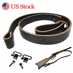 1inch Wide Quality Leather Rifle Gun Sling, Shoulder Strap Adjustable 2 Colors
