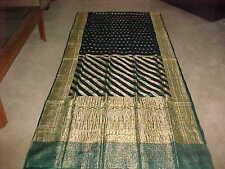 GREEN Gold PURE Silk MESMERIZING Sari RARE Fabric PANEL Breathtaking Drape Craft