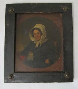 Antique 1800's Primitive Original Oil Painting Portrait Woman with Bonnet