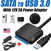 Adaptador USB a Sata USB 3.0 Sata HDD SSD Disco duro Adaptadores de corriente